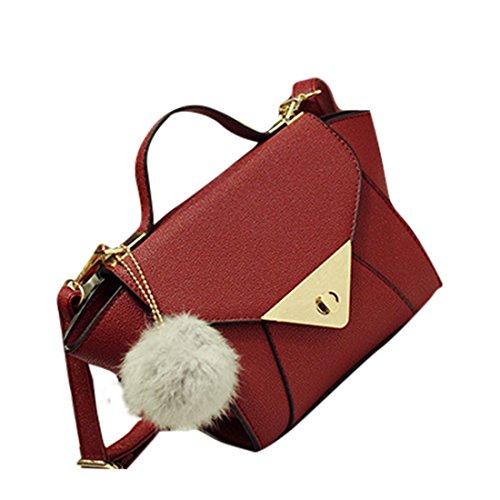 d627d7e9dc7a0 Wenyujh Damen Handtasche Umhängetasche Schultertasche PU Ledertasche  Stylische Flügel auf Seite Weinrot