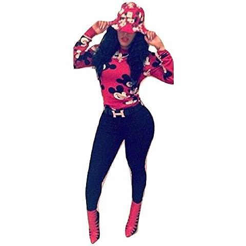 Nuevas señoras negro y rojo de Mickey Mouse ropa de impresión, 2piezas Juego de Leggings pantalones Club Wear Casual Leggings Party Wear tamaño UK 10–12EU