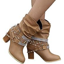 Botas Cortas de Mujer Cinturón,Mujeres Otoño Invierno Retro Remaches Brillantes Botines Botines