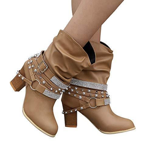 TianWlio Boots Stiefel Schuhe Stiefeletten Frauen Herbst Winter Retro Glänzende Nieten Stiefeletten Ferse Halbe Stiefel Schuhe Weihnachten Khaki 40