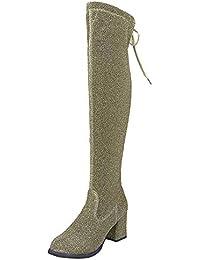 ALIKEEY Botas Altas con Cordones Y Punta Redonda para Mujer Botas Altas hasta La Rodilla Zapatos