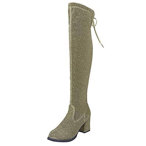 Stiefel Damen Schwarz Kniehoch Mumuj Elegante Schnür-Pailletten Tuch Martin Lange Stiefel Runde Zehe Hohe Abendschuhe Overknee Hochzeitsschuhe