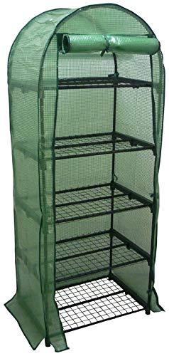 Serra scaffale con 5 piani da balcone per copertura orto piante fiori 70x49h175 porta con doppia zip telo plastificato anti pioggia in pvc proteggi vasi