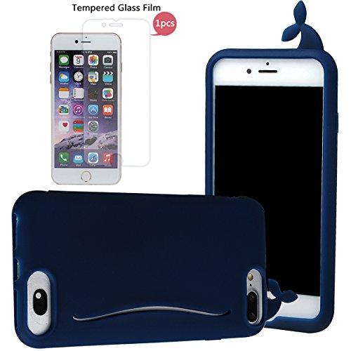 """Hülle für iPhone 7 Plus, xhorizon FM8 Silikon-nette Gummi-weiche Wal-Kaninchen-Schwanz-Kreditkarte-Karten-Fall-Abdeckung Apple iPhone 7 plus [5.5""""] tiefblau mit einem 9H temperierten Glasfilm"""