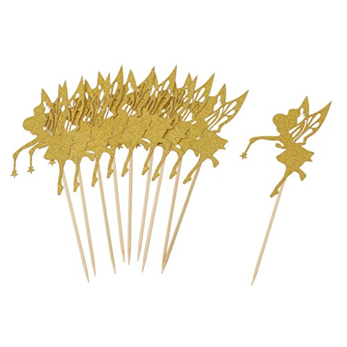 Fenteer 10x Gold Glitter Tortenaufsatz Kuchendeko Tortendekoration