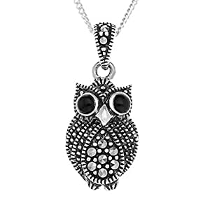 Ornami Sterling Silver Marcasite and Agate Owl Pendant with 46 cm Chain