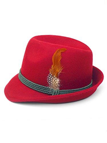 Trachtenhut mit Feder rot 55