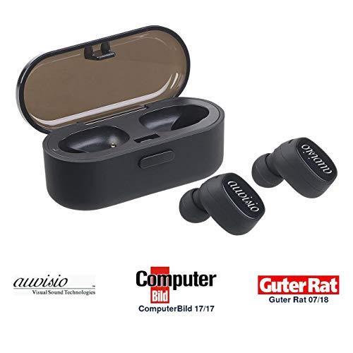 auvisio Stereo Headset Bluetooth: True Wireless In-Ear-Stereo-Headset mit Lade-Etui, 10 Std. Spielzeit (True Wireless Kopfhörer)