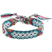 Y-BOA Bracelet Tressé Manchette Porte-Bonheur Brésilien Multicolore Réglable 37cm (Modèle 1#)
