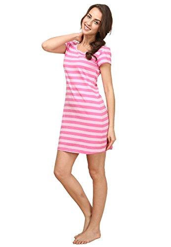 Sunshine Chow-Coton sans manches en coton ¨¤ rayures courtes pyjamas pyjama - Femmes pink