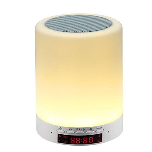 The perseids Drahtloser Bluetooth Lautsprecher, Berührungs Steuerung Nachttisch lampe Mit Smart LED Dimmbare RGB Multi Color, Alle in 1 Wecker (MEHRWEG)