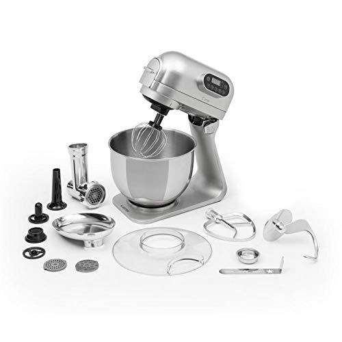 Klarstein Curve Plus • Set Robot da Cucina • Tritacarne 4 in 1 • Capacità 5 L • 5 Livelli di Velocità • 3 Fruste in Dotazione • 3 Piaste Forate per Tritare • Ciotola in Acciaio Inox • Colore Argento