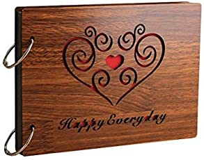 Comeonbaby® 'HappyEveryday' Wood Pasted Photo Album (22 cm x 16 cm x 4 cm, Brown)