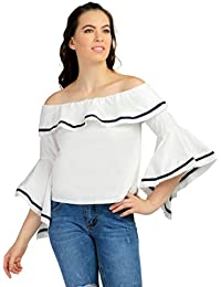 Remanika White color Polyester fabric Full Sleeves Top for womens
