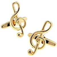 accessories4u2buy Gold Music Note Pair Cufflinks Treble Clef Band Musician Player Guitar