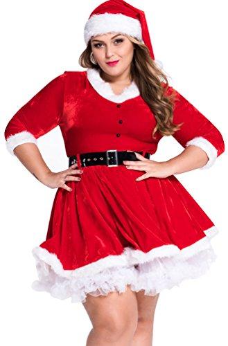 Baymate Frauen Miss Santa Cosplay Kleid Weihnachts Kostüm für Party Große Größen Rot (Kleid+Gürtel+Hut) (Santa-kleid Für Frauen)