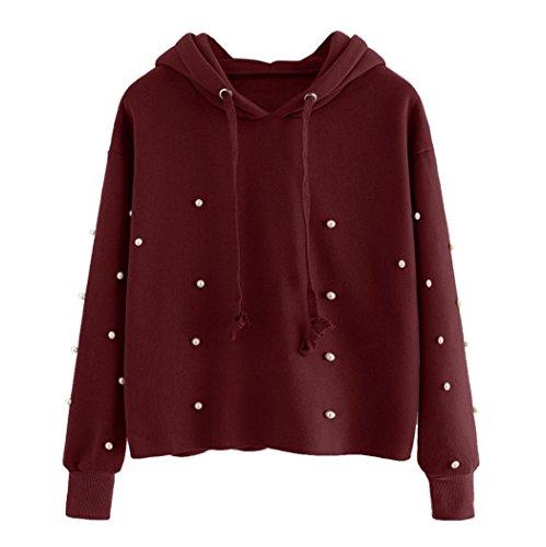 Damen Hoodie, VEMOW Perlen Decro Lange Ärmel Beiläufige Bluse Sweatshirt Tops (Aus T-shirt Baumwolle Perlen)