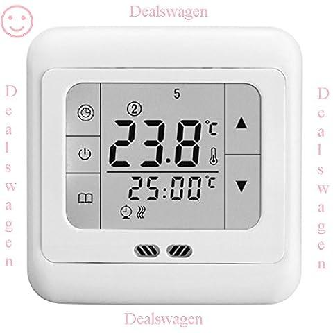 LCD Touchscreen Raumthermostat Elektrisch Digital Tempraturregler Thermostat Fußbodenheizung elektrisch 16A weiße Hintergrundbeleuchtung Neu