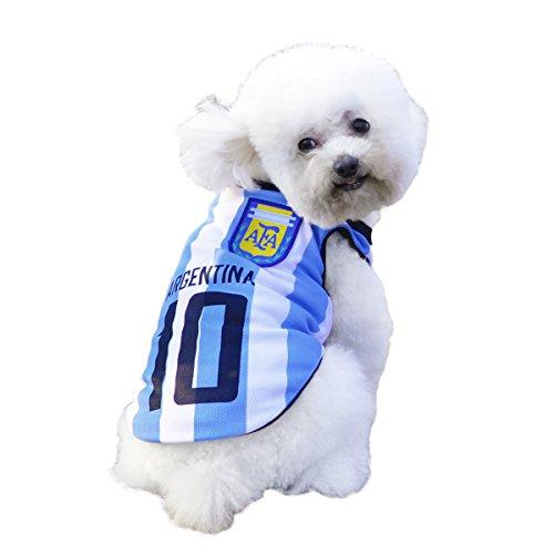 Hunde Trikot Fußball Jersey T-Shirt für Hunde Katzen Kostüme Haustier Weltmeisterschaft Weihnachtsmannkostüm Kleidung Haustierhundekleidung Argentinien (S, Blau)
