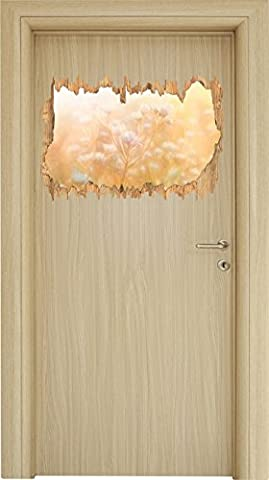 Romantische Blumenwiese Bunstift Effekt Holzdurchbruch im 3D-Look , Wand- oder Türaufkleber Format: 62x42cm, Wandsticker, Wandtattoo, Wanddekoration