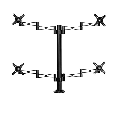 Vemount Fully Adjustable Quad Arm Monitor Desk Mount Stand Bracket Stand for LCD LED Computer Screens Fits up to 27