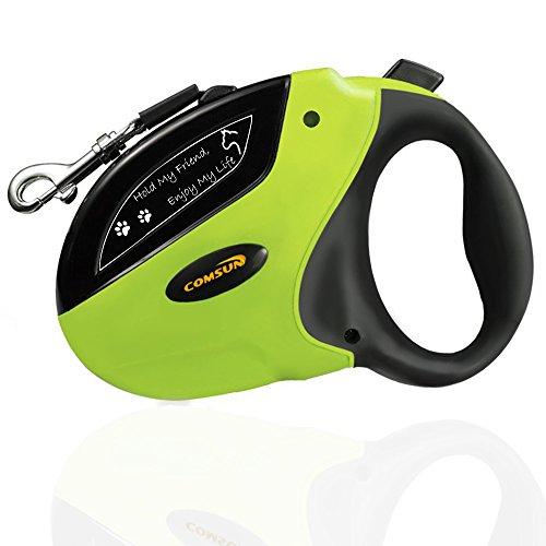 Einziehbare Hundeleine Comsun Haustierleine Roll-Leine Automatikleine Bremstaste 5m Retractable Gurt Dog Leash für Hunde verschiedene Größen bis max. 50 kg Nylonband+ABS Gehäuse Grün