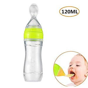 Emwel Silicone Squeeze Baby Infants Feeding Spoon, Baby Leak-proof Food Dispensing Spoon Weaning Juice Cereal Rice Porridge Feeding Bottle 120ml   7