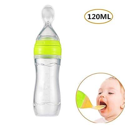 Emwel Silicone Squeeze Baby Infants Feeding Spoon, Baby Leak-proof Food Dispensing Spoon Weaning Juice Cereal Rice Porridge Feeding Bottle 120ml  ZAY
