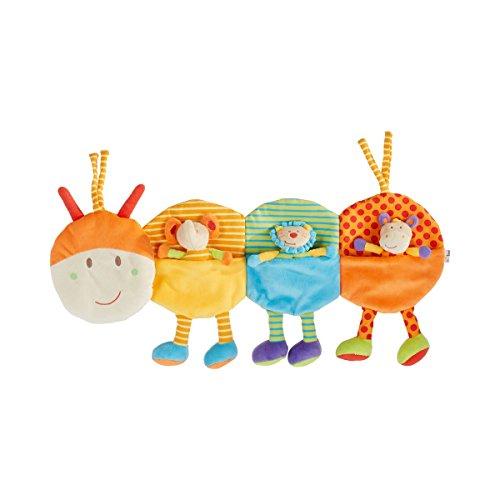 solini Stoffspielzeug Raupe - Baby-Spielzeug für Bett & Laufstall - mit Stofftierchen, Beißring & Quietsche - einfach zu befestigen - bunt