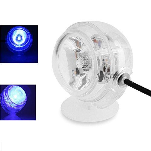 Yakamoz 220v 1W LED Spot Lampe Submersible für Aquarien, LED-Spotlampe, Wasserdicht, Hell, Schwimmbad, Unterwasser-Marine, Sehr glänzend, Blau