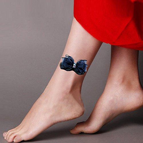 tafly-5-hojas-impermeable-3d-azul-y-corbata-de-lazo-rojo-flor-decal-sticker-tatuaje-pierna-inferior-