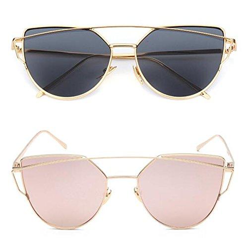 L&K-II Classische Sonnenbrille Damen Metall Rahmen verspiegelte Linse Brille 5101 set 15