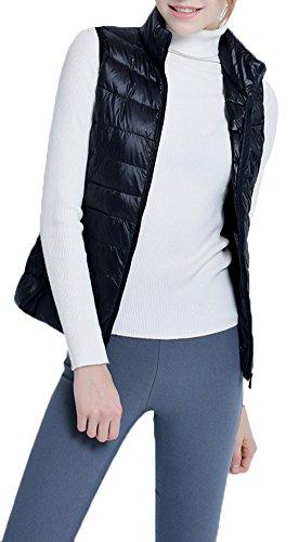 Mochoose Doudoune Sans Manche Gilet Ultra Légère Veste Manteau Parka Blouson Zippée Hiver pour Femme Noir