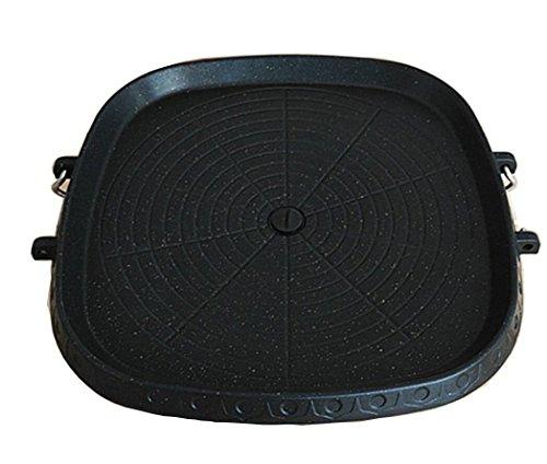 dingsheng BBQ Produkte Medical Stein beschichtet Square Barbecue Gericht tragbaren Grill Tablett Double Unterseite für Family Grill–Pizza Stein mit Rahmen aus Edelstahl