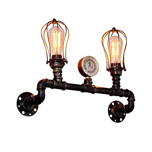 Ganeep Steam Punk Loft Industrial Ferro Ruggine Tubo Retro Lampada da parete...