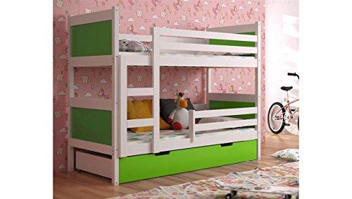 JUSTyou Leon Cama Juvenil Infantil Litera con cajones (LxBxH): 190x85x150 cm Blanco Verde