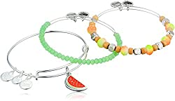 Alex & Ani Women's Color Infusion, One In A Melon Set Of 3 Bracelet, Shiny Silver, Expandable