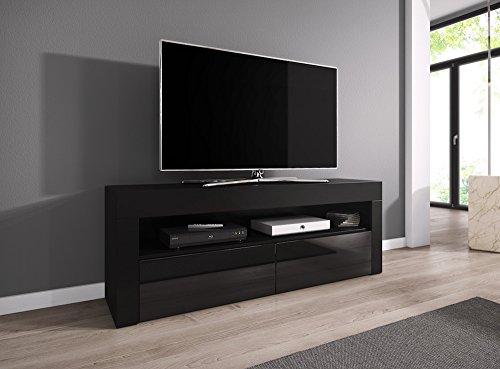TV-Element TV Schrank TV-Ständer Entertainment Lowboard LUNA 140 cm, Körper Schwarz matt / Fronten Schwarz hochglanz