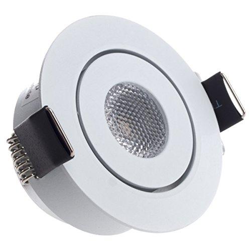 Sensati Kleine flache Miniatur LED Einbauleuchte flacher Downlight Spot schwenkbar, dimmbar, 210 lm, inklusive Treiber, Gehäusefarbe weiß, warmweiß T096 1 WW W -
