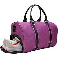 VSWIG Bolsas de Gimnasio Tejido de Poliéster Plegable de Ligero Deportivo Deportes Camping Hombro Bolso para Hombres y Mujeres (Púrpura)