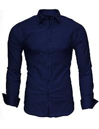 KAYHAN Uni Langarmhemd Slim Fit 20 Farben zur Auswahl S-3XL