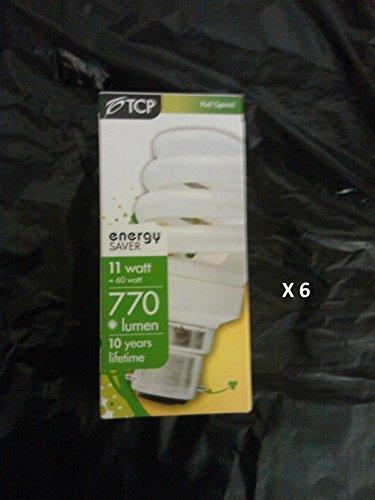 6 x TCP 11w - 60w B22 Bayonet BC T3 Spiral Warm White CFL Fluorescent Light Bulb