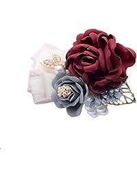 Hosaire 1x Boda Dama de Honor Nupcial Pulsera de Perlas de Flores Pulsera de Flor Pulsera de Ramillete para Novia, Dama de Honor, Boda,…