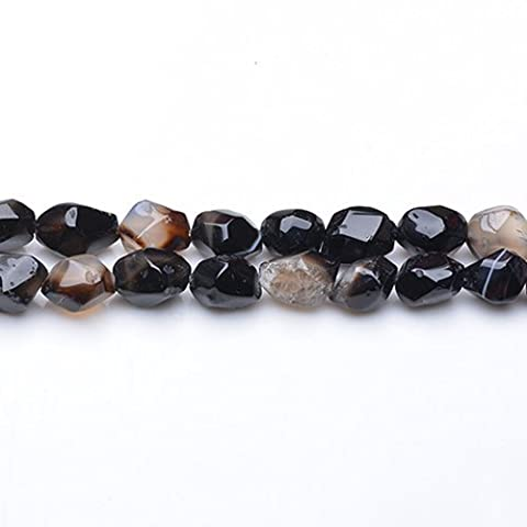 Strand Of 40+ Black Onyx Approx 8 x 10mm Faceted Nugget Beads - (GS5155) - Charming Beads