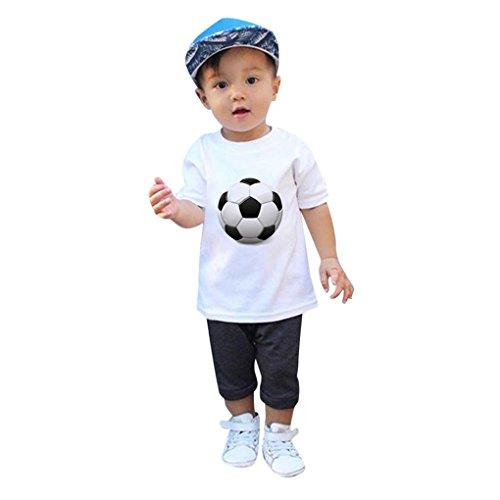Sommer Babykleidung JYJMInfant Kid Mädchen Jungen Fußball Fußball Print Casual T-shirt Tops Shirts WM-Fußballdruck Rundhals-Sweatshirt-Oberteil für Baby (3-7 Jahre) (L, Weiß,) (Kinder Blend T-shirt)