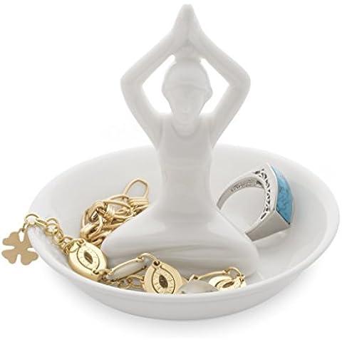 Balvi - Yoga porta anelli in ceramica. Vassoio per anelli e gioielli. Realizzato in ceramica. Forma di yoga.