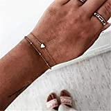 FPKZGRV Pulsera Perlas Negras Pulsera de Cadena Pulsera de Las Mujeres en Forma de corazón Brújula de Color Oro Pulsera de Cadena Set Regalo de la joyería