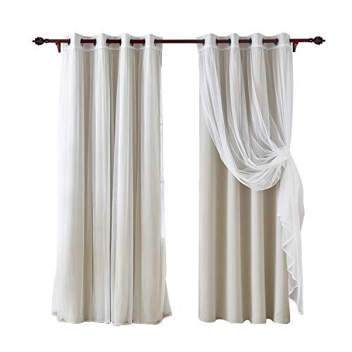 Deconovo tende a doppio oscuranti termiche isolanti tende trasparenti in voile per camera da letto 4 pannelli 140x240cm beige chiaro e bianco