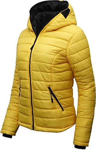 Crone Nora Damen Daunen Stepp-Jacke mit Kapuze Übergangsjacke (M, Gelb)