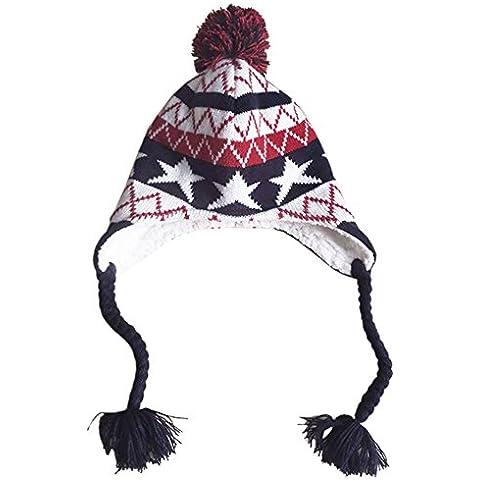 Dr.mama el gorro con el diseño de el traje del estrella y Jacquard sombrero del oído orejera casquillo para bebé(Material:algodón 100%)